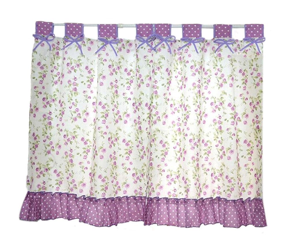 Blancho Set of 2 Pastorable Purple Floral Window Valance Window Curtains 130x80cm